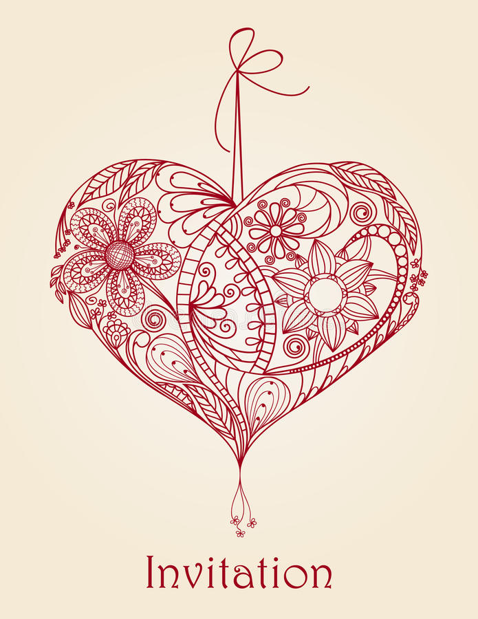 kwiecisty projekta serce ilustracja wektor