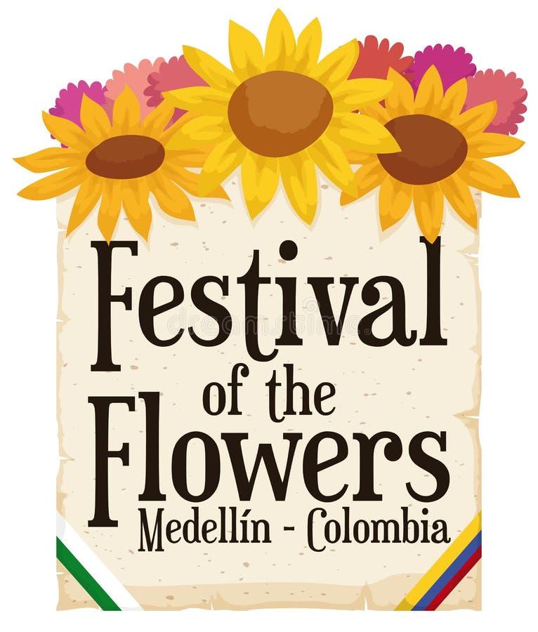 Kwiecisty przygotowania i ślimacznica dla Kolumbijskiego festiwalu kwiaty, Wektorowa ilustracja ilustracja wektor