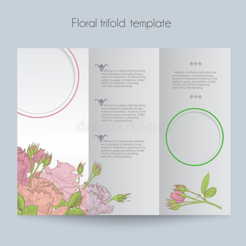 Kwiecisty róża szablon, trifold, mockup dla ilustracja wektor