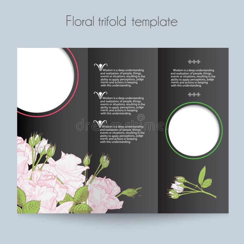 Kwiecisty róża szablon, trifold, mockup dla ilustracji