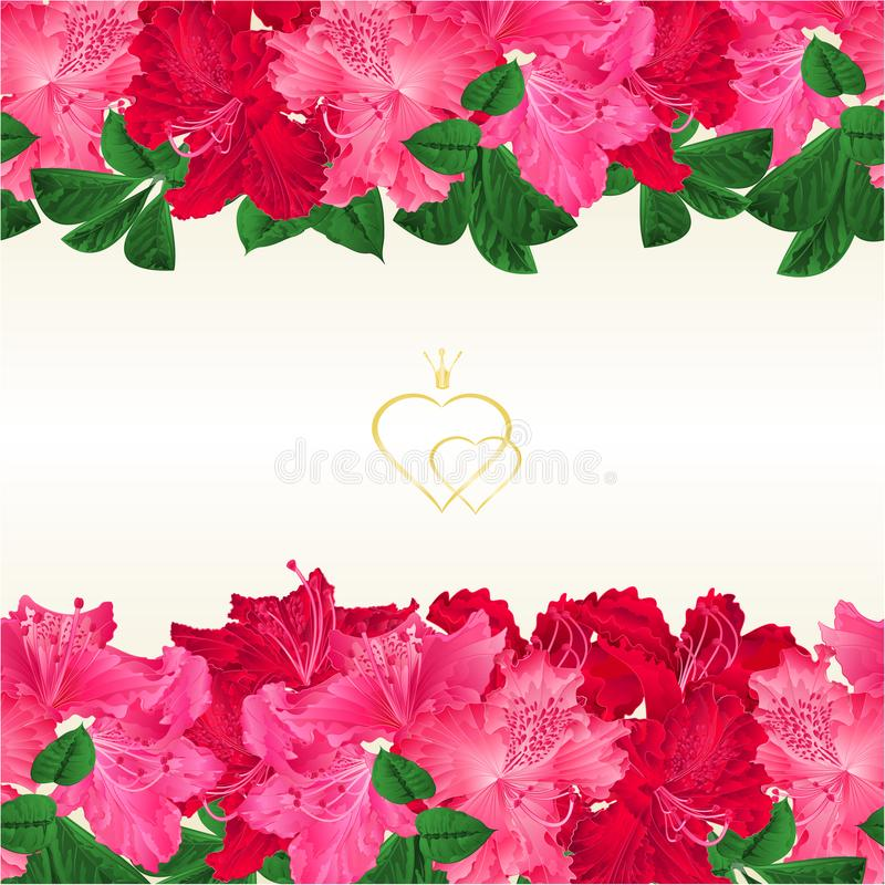 Kwiecisty rabatowy horyzontalny bezszwowy tło z kwitnienie gałąź menchie i czerwień kwitnie różanecznik wektorową ilustrację dla  ilustracji
