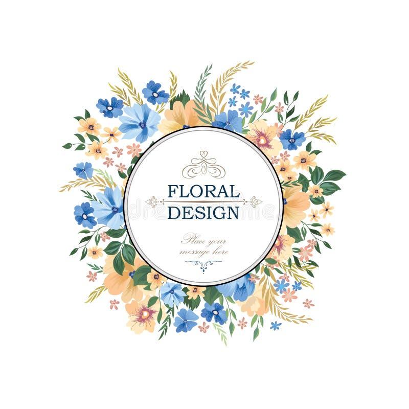 Kwiecisty rama wzór Kwiatu okręgu granicy tło wita royalty ilustracja