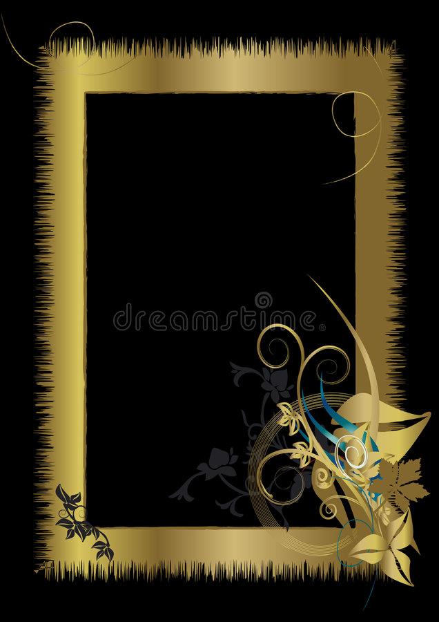 kwiecisty ramowy ornament złota ilustracji
