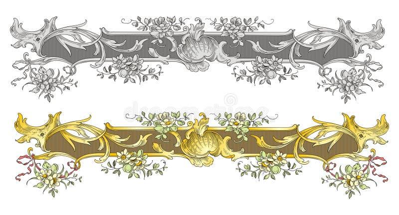 kwiecisty ramowy ozdobny retro royalty ilustracja