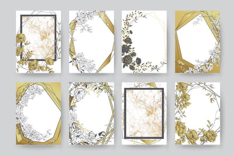 Kwiecisty ramowy projekt Ślubny zaproszenia przygotowania Botaniczny skład ilustracja wektor