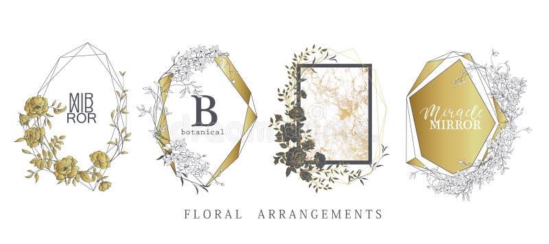 Kwiecisty ramowy projekt Ślubny zaproszenia przygotowania Botaniczny skład royalty ilustracja