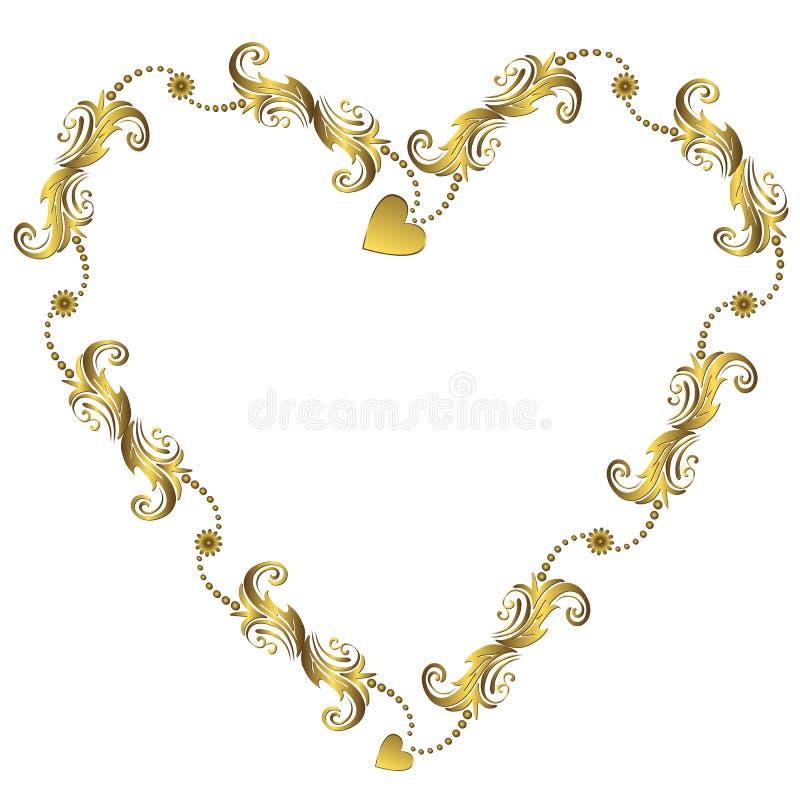 kwiecisty ramowy złota s valentine wektor royalty ilustracja