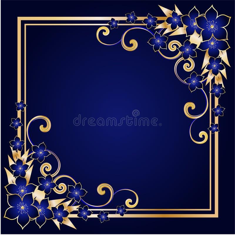kwiecisty ramowy złoty ilustracji