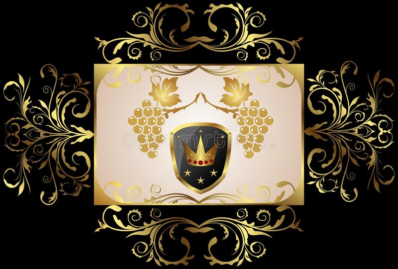 kwiecisty ramowy złoty royalty ilustracja