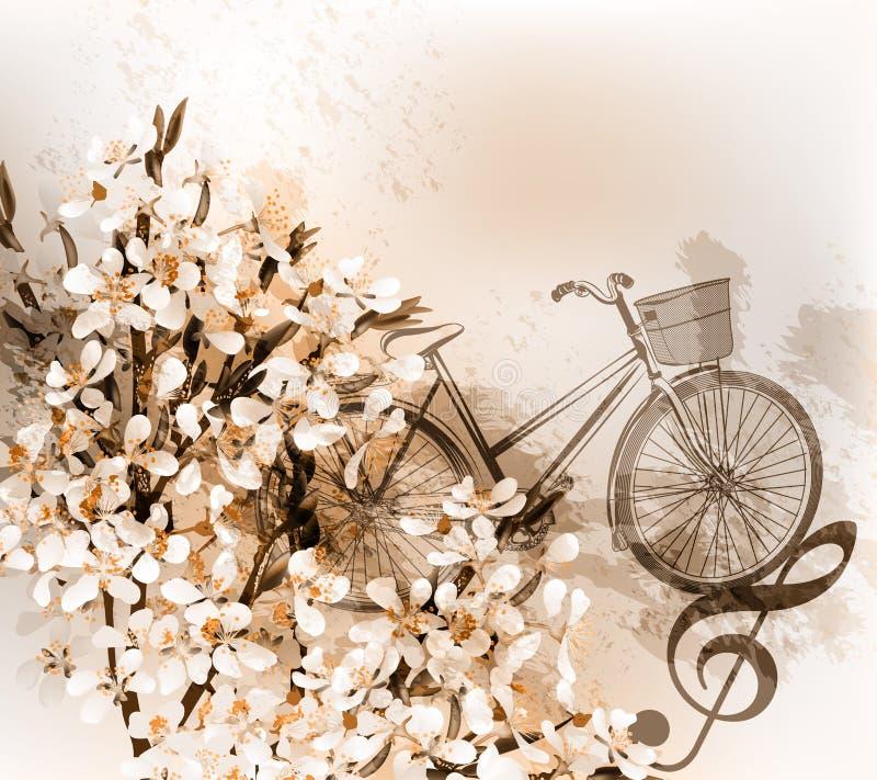 Kwiecisty retro tło z kwiatami, rowerem i treble clef, royalty ilustracja