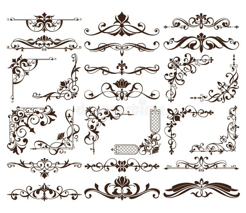Kwiecisty rocznika ornament z zawijasa elementu projektem ilustracji