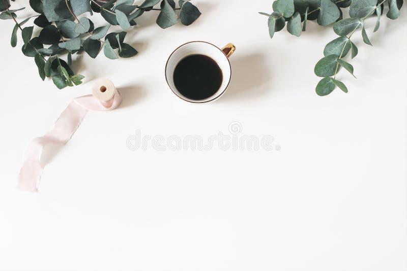 Kwiecisty skład robić zielony eukaliptus opuszcza i rozgałęzia się na białym drewnianym tle z filiżanka kawy i jedwabiem fotografia royalty free