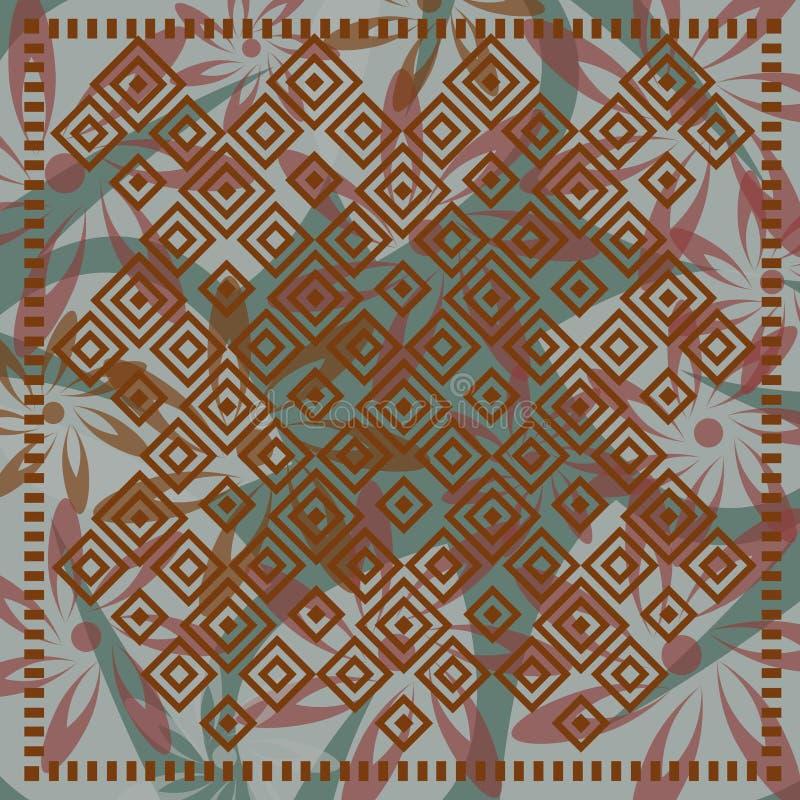 Kwiecisty szalik z mozaika motywem royalty ilustracja