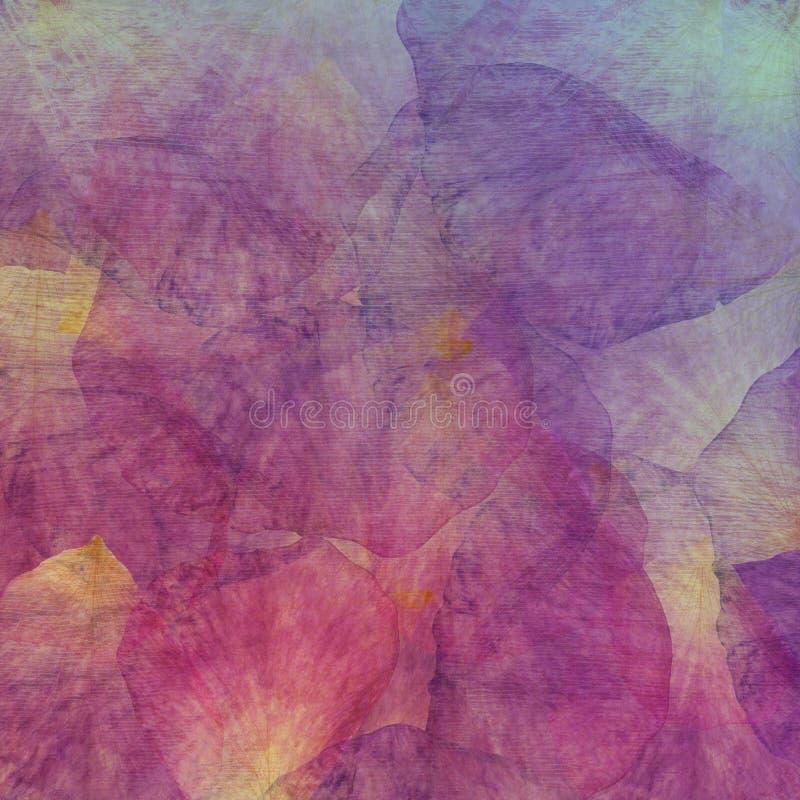 Kwiecisty sztuki grunge batika tło Stylizacyjni pastelowi kolory, akwarele Rocznik textured tło z menchiami, czerwień ilustracja wektor