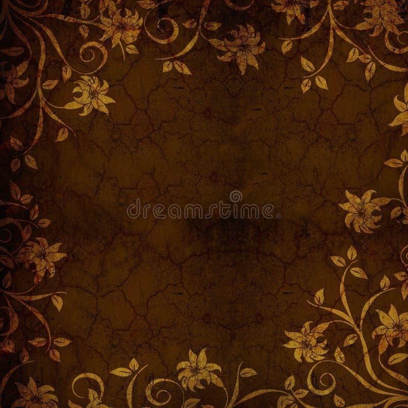 kwiecisty tła złoto kwiecisty ilustracja wektor