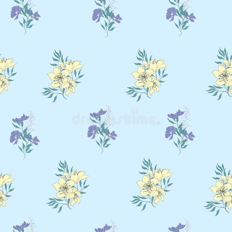 Kwiecisty tło delikatny kolor żółty i purpury kwitnie Rocznik lekka tekstura dla kart, płytki, zaproszenia ilustracja wektor