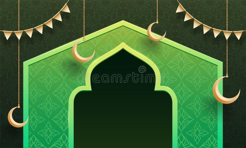 Kwiecisty tło, ilustracja Meczetowa brama i obwieszenie księżyc z chorągiewki dekoracją dla Ramadan Kareem świętowania chodnikowa ilustracja wektor