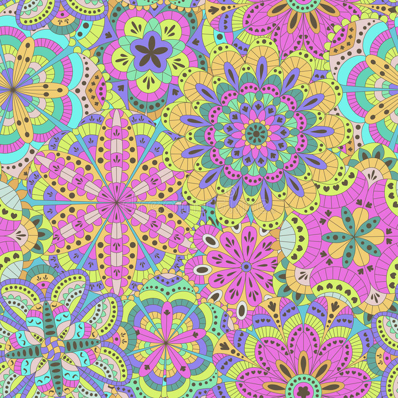 Kwiecisty tło robić wiele mandalas bezszwowy wzoru ilustracji