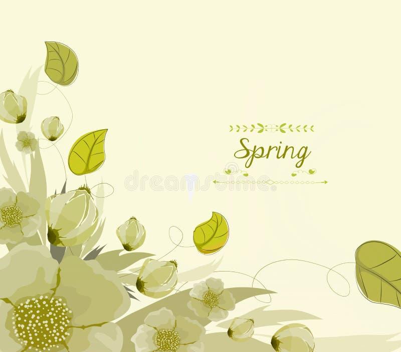 Kwiecisty tło, wiosna temat, kartka z pozdrowieniami royalty ilustracja