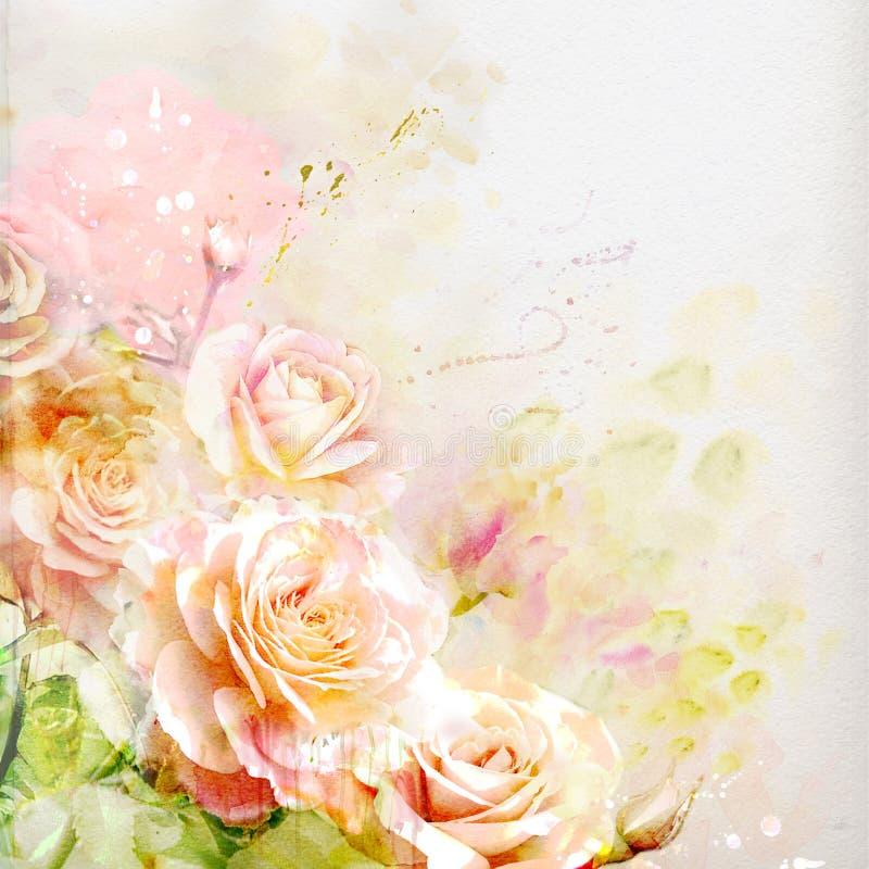Kwiecisty tło z akwareli różami royalty ilustracja