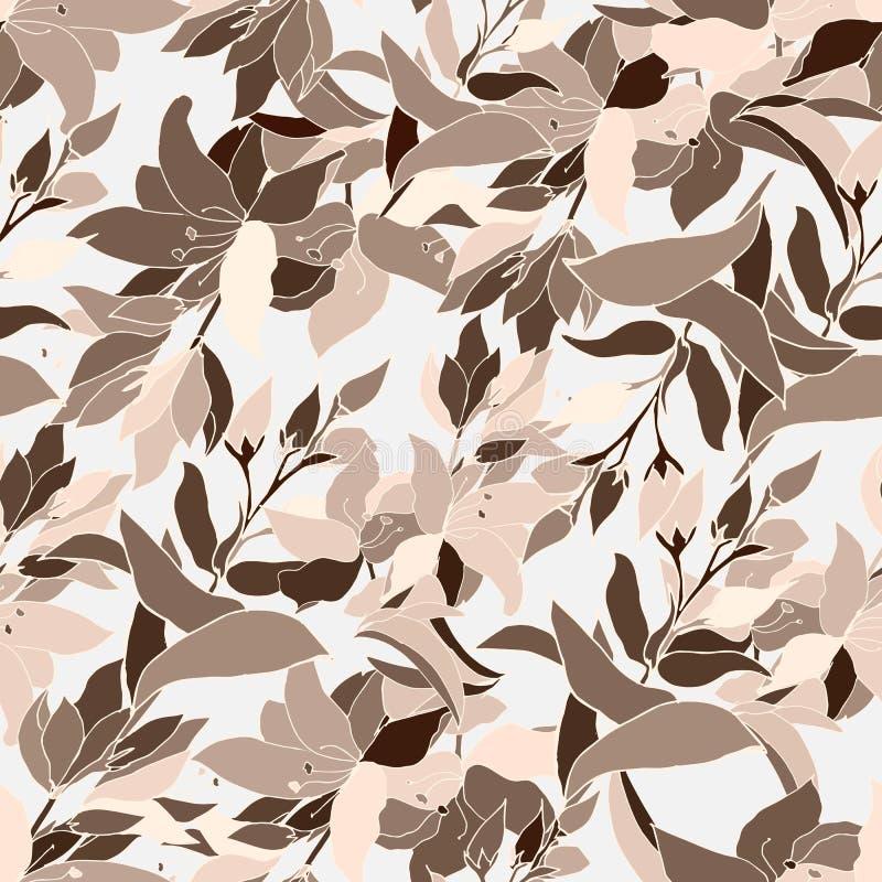 Kwiecisty tło z brązu ornamentem wektorowi kwiaty Niekończący się tekstura dla projekta, płytki i tkaniny twój, ilustracji