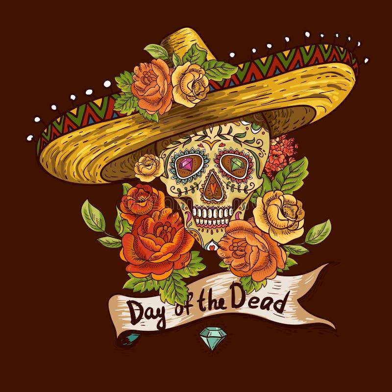 Kwiecisty tło z czaszką w sombrero ilustracja wektor
