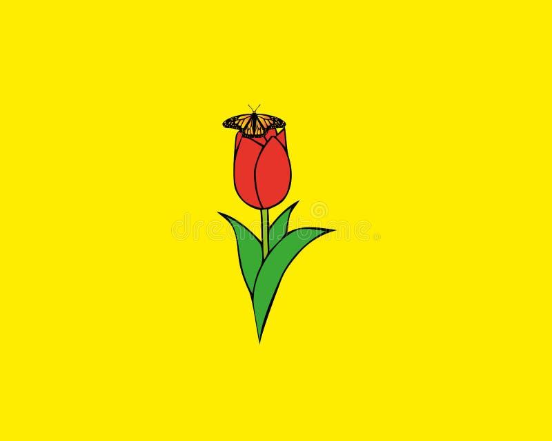Kwiecisty tło z czerwonym tulipanem, zielonym liściem i motylem, ilustracja wektor