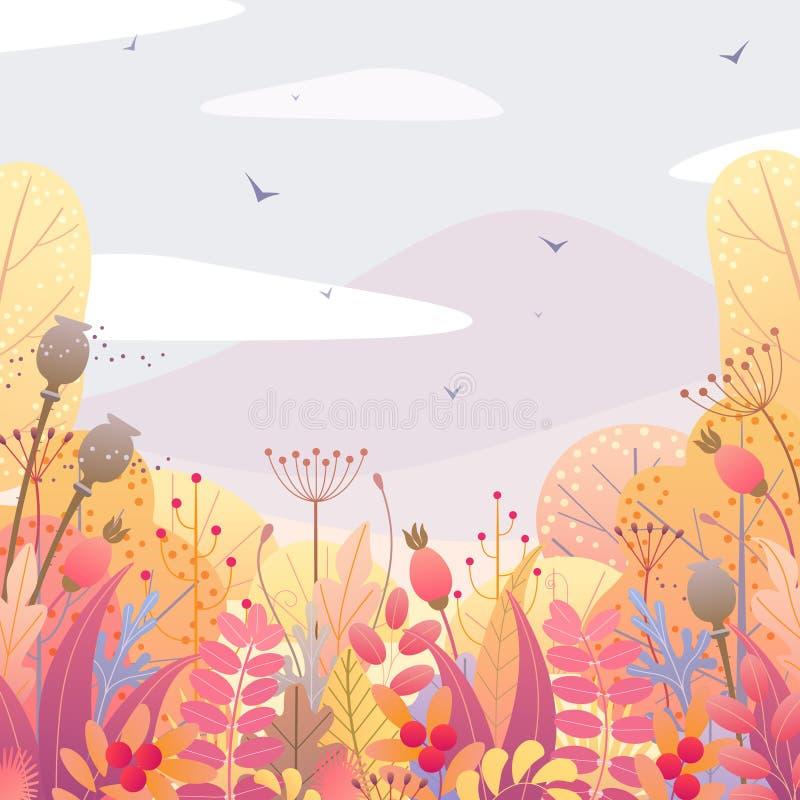 Kwiecisty tło z jesieni jagodami i liśćmi ilustracja wektor