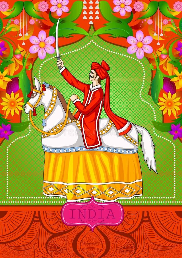 Kwiecisty tło z Kachhi Ghodi tanem, Ludowa sztuka pokazuje Nieprawdopodobnego India Rajasthan royalty ilustracja