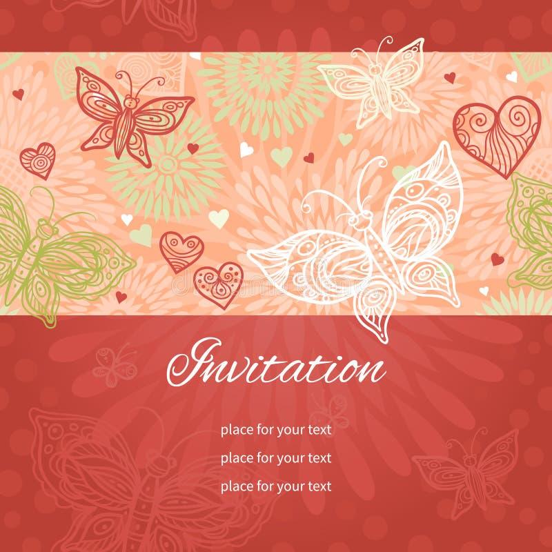 Kwiecisty tło z koronkowym sercem i motylami royalty ilustracja