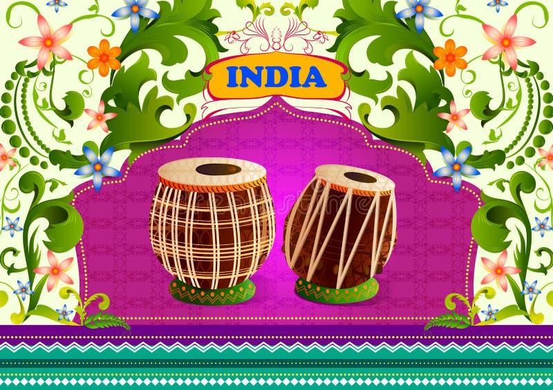 Kwiecisty tło z muzycznym instrunment Tabla pokazuje Nieprawdopodobnego India ilustracji