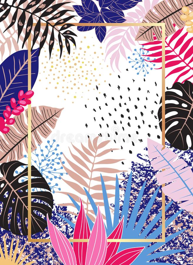 Kwiecisty tło z Tropikalnymi liśćmi i teksturami ilustracja wektor
