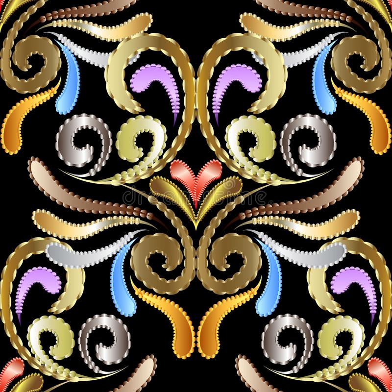 Kwiecisty textured jedwabiu 3d bezszwowy wzór Ornamentacyjny rocznika vec ilustracji