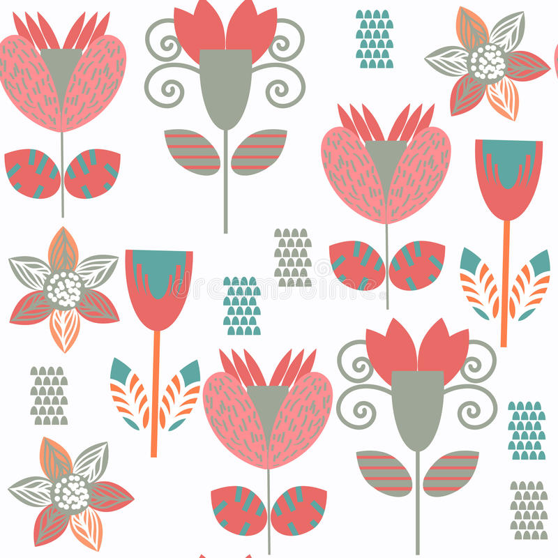 Kwiecisty tropikalny dziwny bezszwowy wzór Ja lokalizuje w swatch ja ilustracja wektor