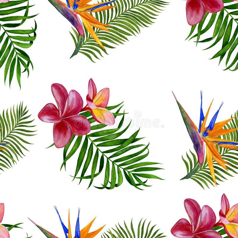 Kwiecisty tropikalny wzór dla tapety lub tkaniny kwiatów liść wzór bezszwowy Handmade akwarela obraz piękne ilustracja wektor