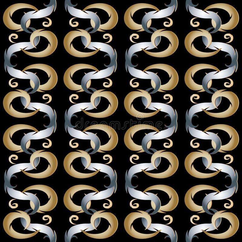 Kwiecisty wektorowy abstrakcjonistyczny bezszwowy wzór Pionowo złota srebro vi royalty ilustracja