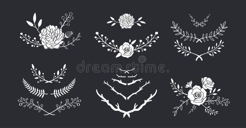 Kwiecisty wektorowy ustawiający z bukietem z wzrastał, peonia, anemon, Sakura, dzicy kwiaty Ręki rysować wieśniak odizolowywać ra ilustracja wektor