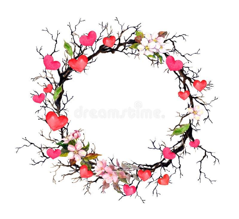 Kwiecisty wianek - gałązki z wiosną kwitną, serca Akwarela okręgu granica dla walentynki, poślubia ilustracji