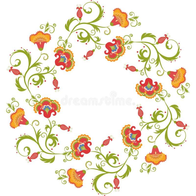 Kwiecisty wianek Kwiat granicy ramy hindusa temat ilustracji