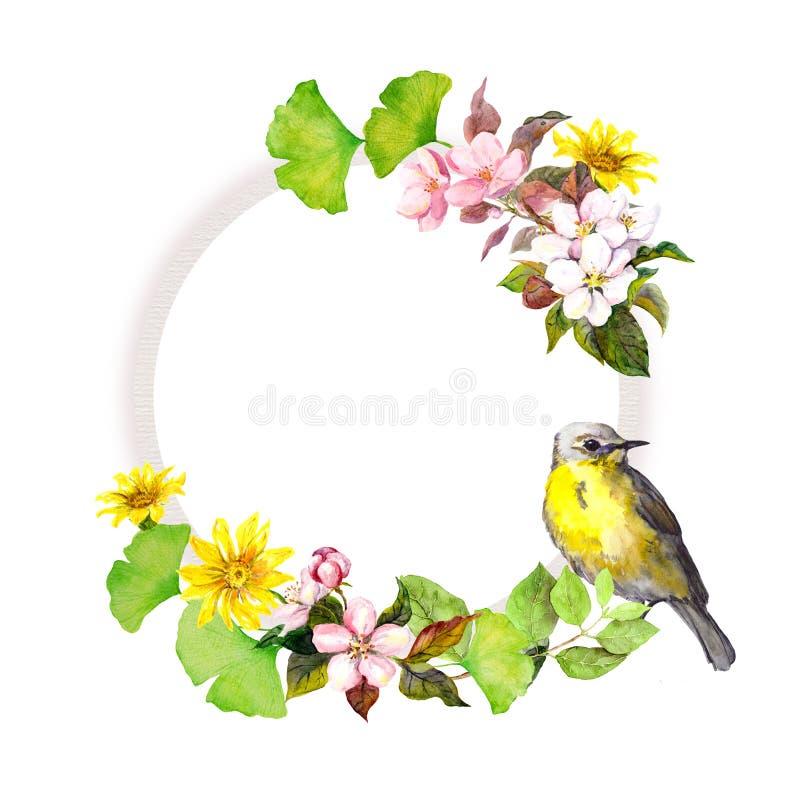 Kwiecisty wianek - kwiaty i ptak ramowa akwarela royalty ilustracja
