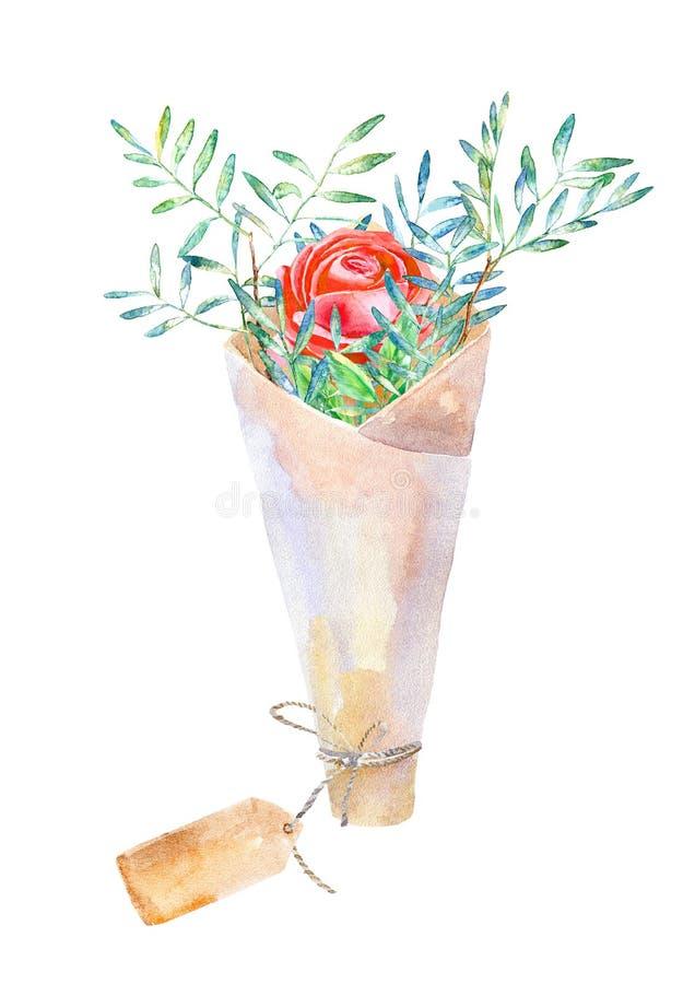 Kwiecisty wianek Pistacji gałąź, róże i Kraft papier, wiążą royalty ilustracja