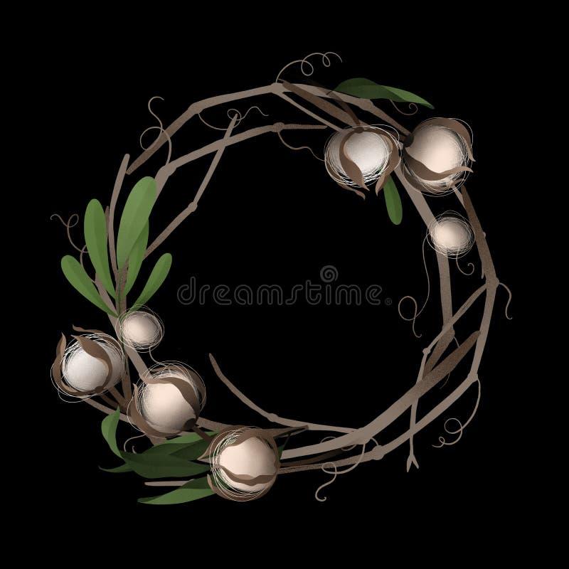 Kwiecisty wianek winograd, bawełna i liście na czarnym tle, ilustracji