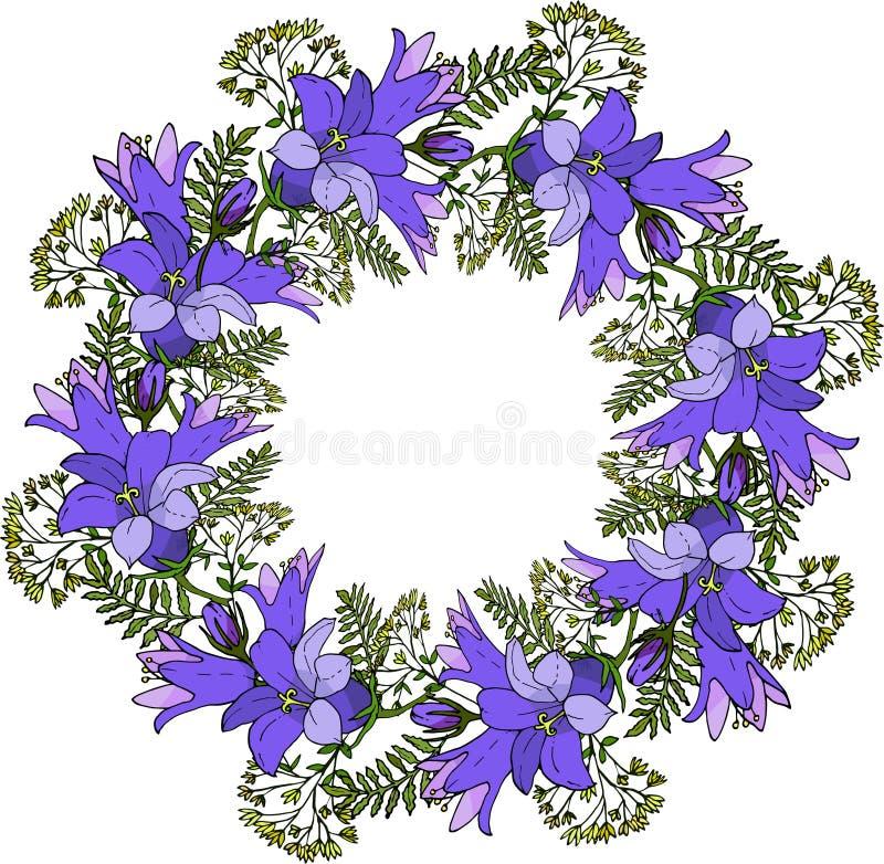 Kwiecisty wianek z błękitnymi kwiatami royalty ilustracja