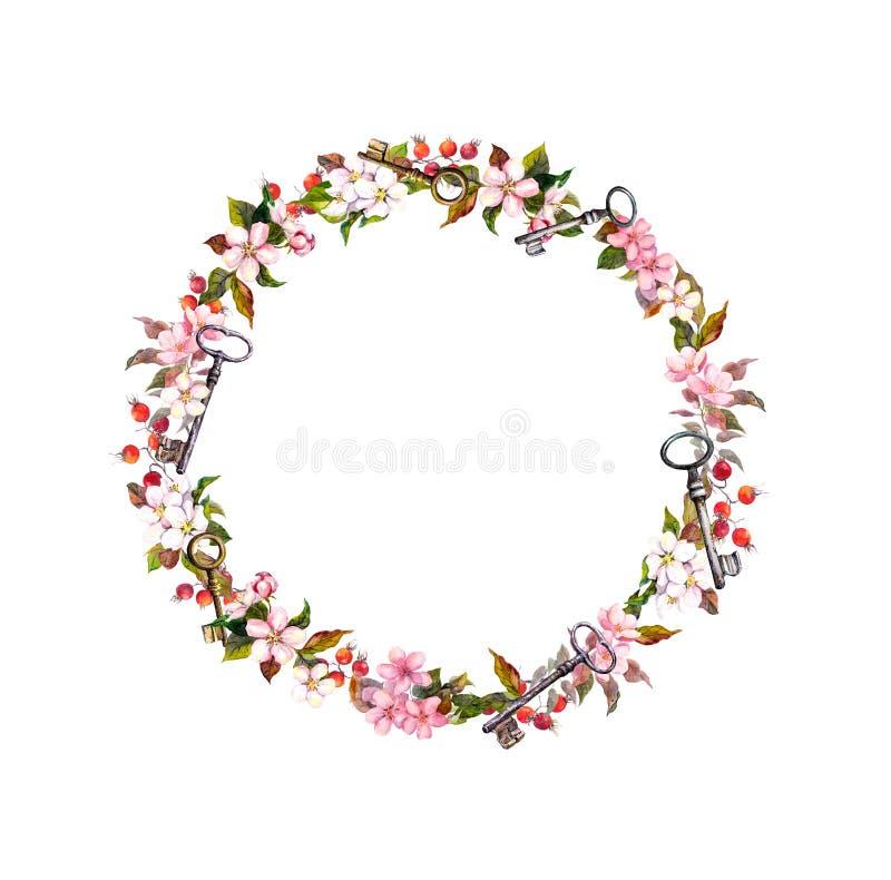 Kwiecisty wianek z wiosna kwiatami, klucze Rocznik akwareli round rama zdjęcie royalty free