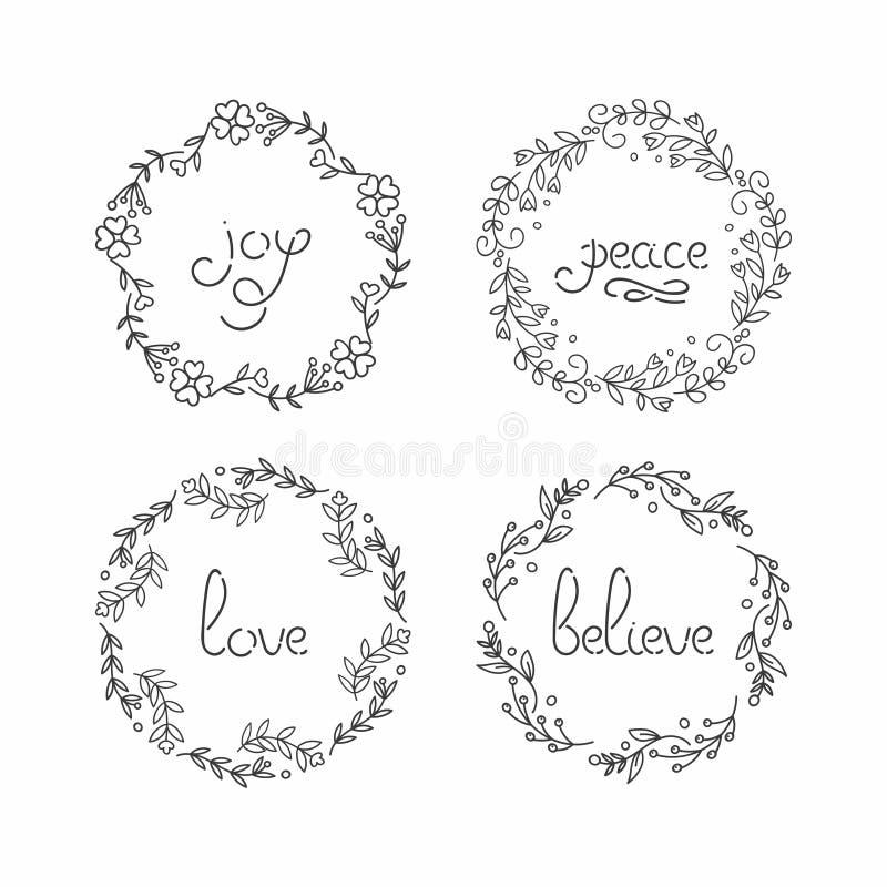 Kwiecisty wianku set Kreskowy literowanie Powitanie typografia ilustracja wektor
