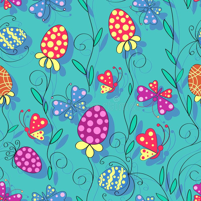 Kwiecisty wiosna szablon z malującymi motylami i jajkami ilustracja wektor
