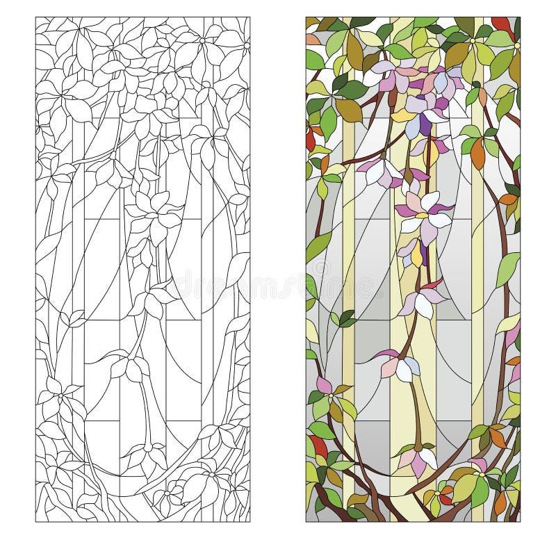 Kwiecisty witrażu wzór royalty ilustracja
