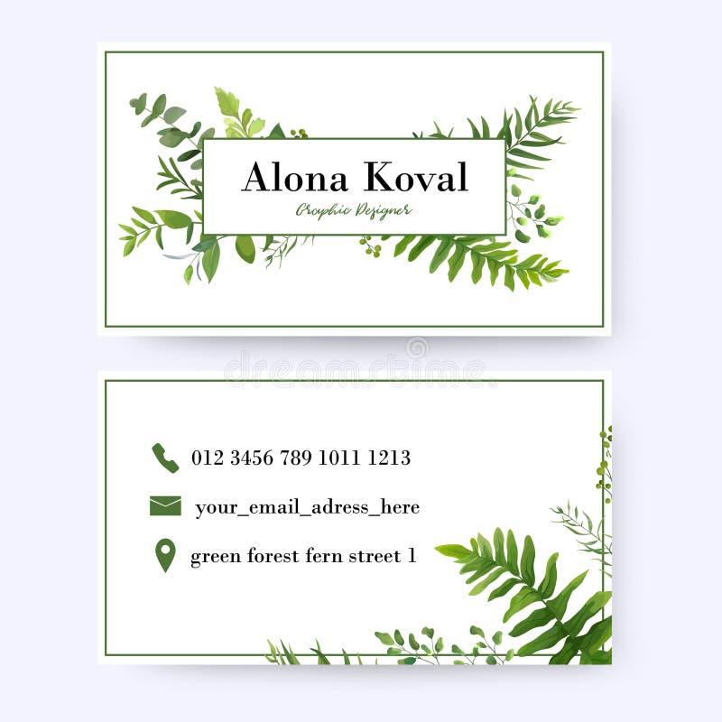 Kwiecisty wizytówka projekt Rocznik, nieociosana eukaliptus zieleń on royalty ilustracja