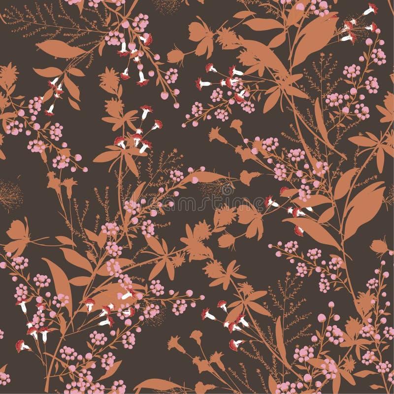 Kwiecisty wzór w dużo jakby kwitnie botanicznego motywu sc ilustracji