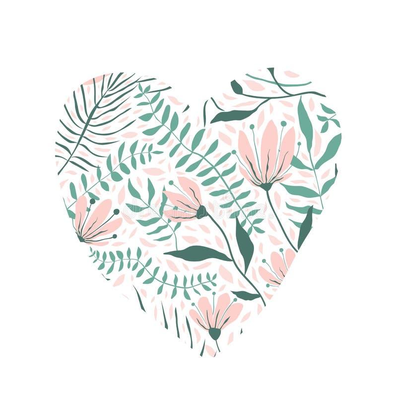 Kwiecisty wzór w kierowym kształt miłości projekcie ilustracji